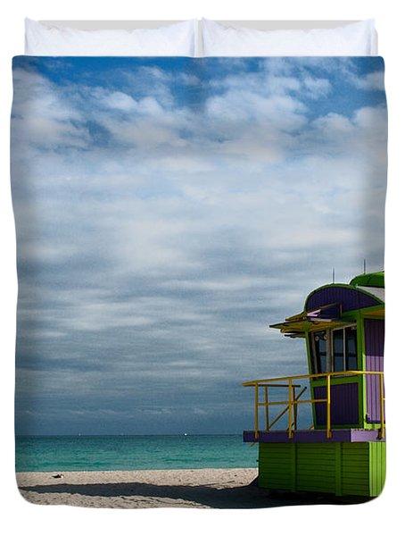 Miami 12th Street Beach  Duvet Cover by Barbara McMahon