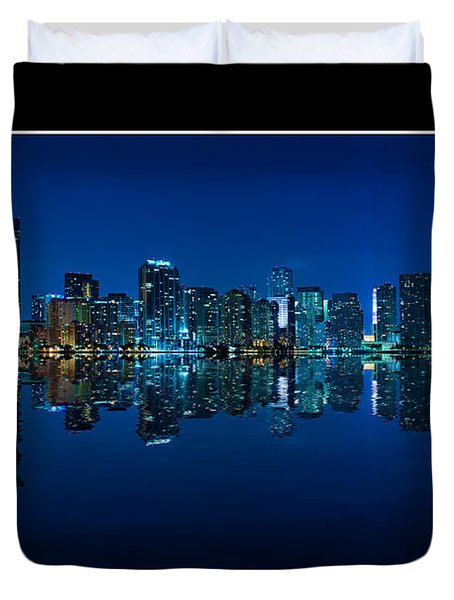 Duvet Cover featuring the photograph Miami Skyline Night Panorama by Carsten Reisinger
