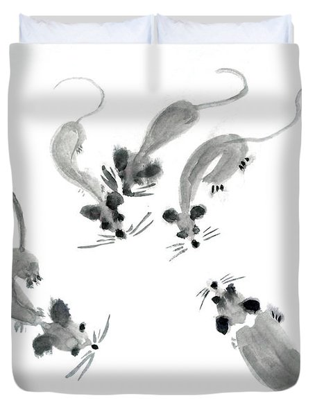 Mice - Sumie Style Duvet Cover
