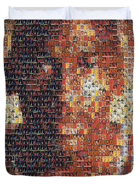 Michael Jordan Card Mosaic 1 Duvet Cover by Paul Van Scott