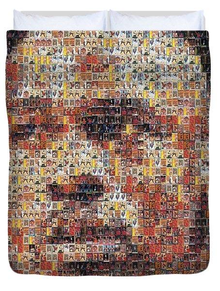 Michael Jordan Card Mosaic 3 Duvet Cover by Paul Van Scott