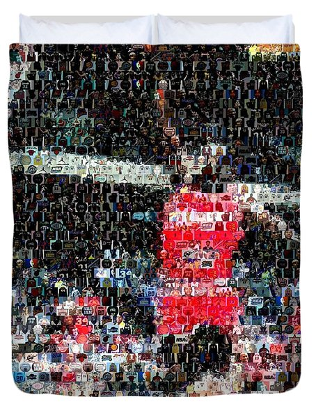 Michael Jordan Rookie Mosaic Duvet Cover by Paul Van Scott
