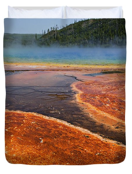 Middle Hot Springs Yellowstone Duvet Cover