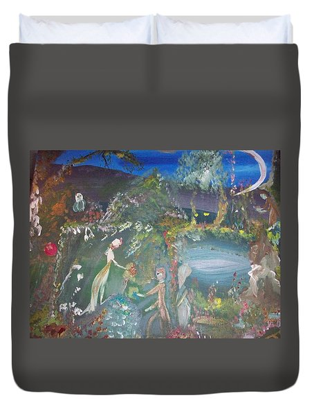 Duvet Cover featuring the painting Midnight Dream Garden by Judith Desrosiers
