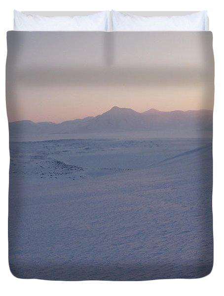 Midnight Sun Hovers Above Polar Duvet Cover by Gordon Wiltsie