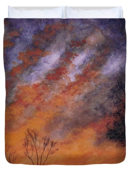 Duvet Cover featuring the painting Midwest Sunset by Stacy C Bottoms