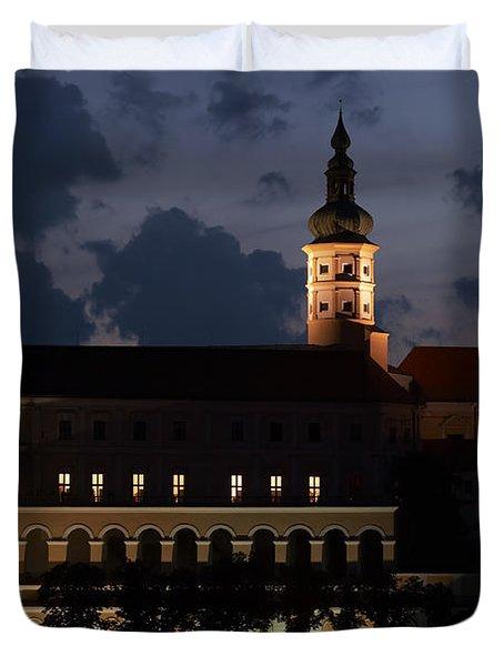 Mikulov Castle At Night Duvet Cover by Michal Boubin