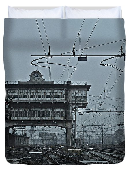 Duvet Cover featuring the photograph Milan Central Station Italy In The Fog by Andy Prendy
