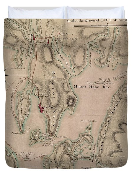 Military Plan Of The North Part Of Rhode Island Duvet Cover by English School
