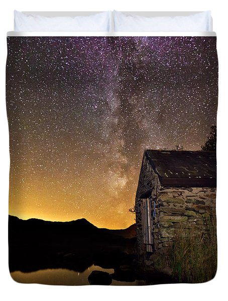 Milky Way Above The Old Boathouse Duvet Cover
