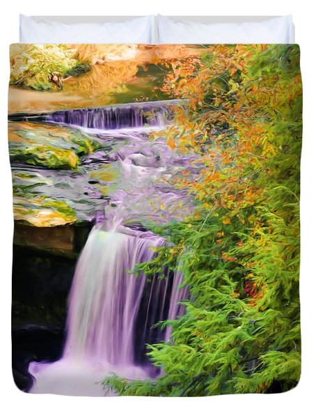 Duvet Cover featuring the painting Mill Creek Waterfall by Michelle Joseph-Long