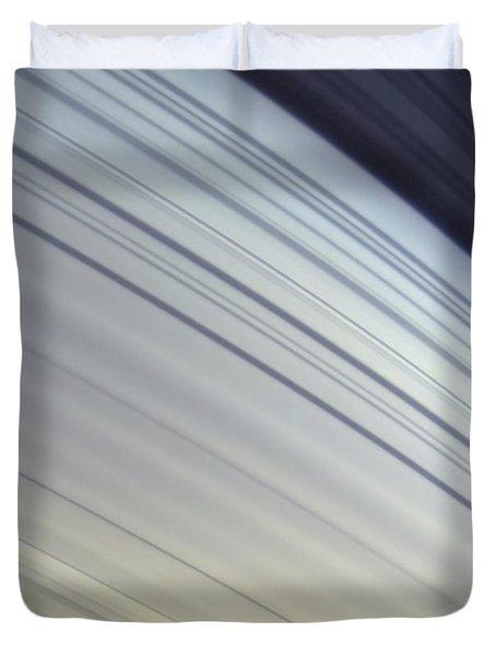 Mimas Drifts Along In Its Orbit Duvet Cover by Stocktrek Images