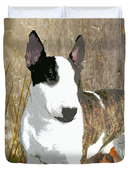 Minature Bull Terrier Duvet Cover by One Rude Dawg Orcutt