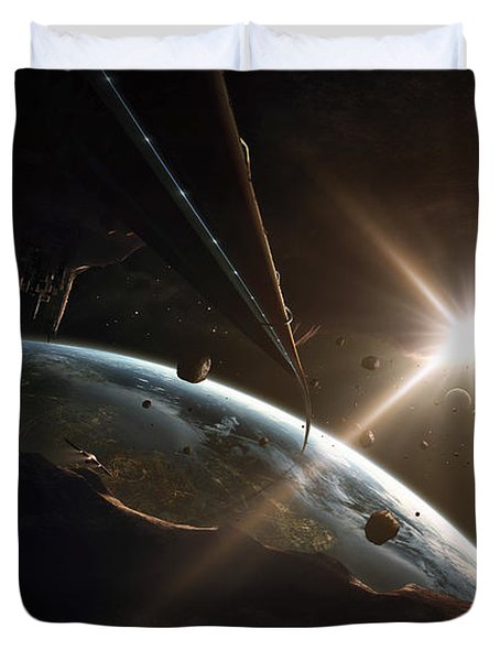 Mining Colony On An Asteroid Duvet Cover by Tobias Roetsch