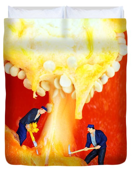 Mining In Colorful Peppers II Duvet Cover by Paul Ge
