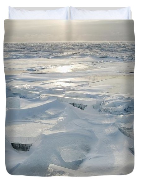 Duvet Cover featuring the photograph Minnesota, United States Of America Ice by Susan Dykstra