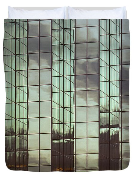 Mirrored Building Duvet Cover by Mark Greenberg