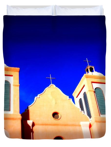 Mission Church Silver City Nm Duvet Cover by Susanne Van Hulst