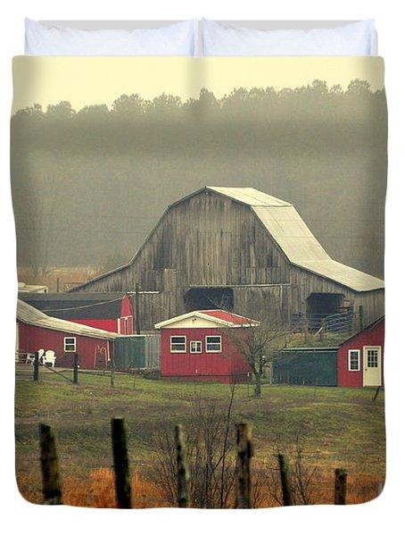 Misty Barn Duvet Cover by Marty Koch