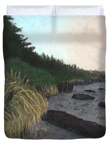Misty Beach Duvet Cover by Ginny Neece