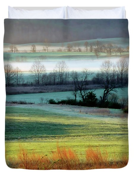 Misty Morning At Cades Cove Duvet Cover by Dave Mills