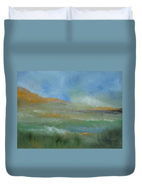 Duvet Cover featuring the painting Misty Morning by Judith Rhue