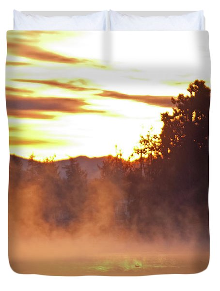 Duvet Cover featuring the photograph Misty Sunrise by Tikvah's Hope
