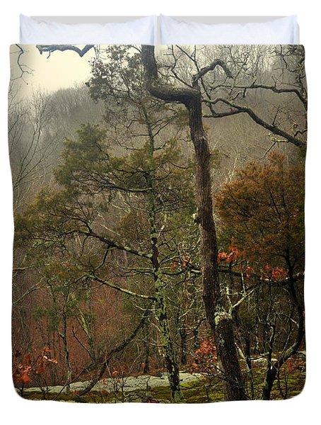 Misty Tree Duvet Cover by Marty Koch