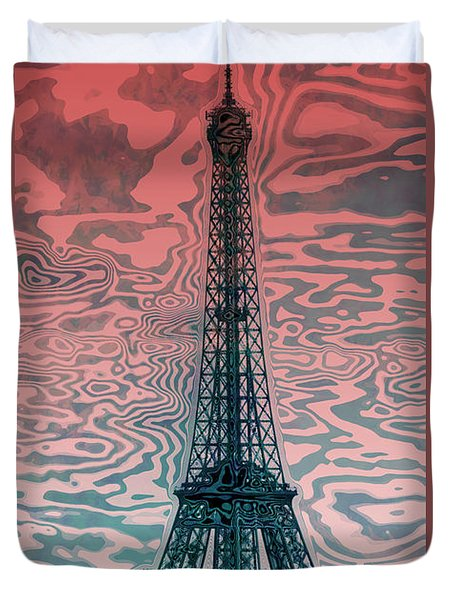 Modern-art Eiffel Tower 17 Duvet Cover by Melanie Viola
