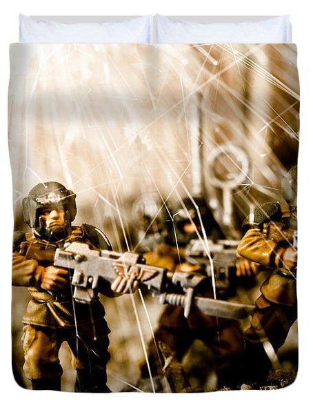 Modern Battle Field Duvet Cover by Marc Garrido