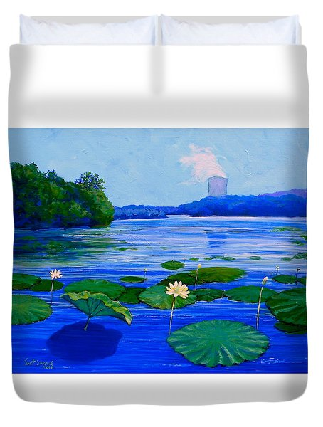 Modern Mississippi Landscape Duvet Cover