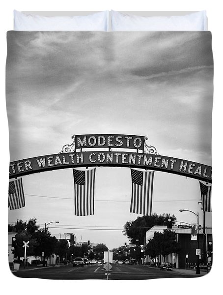 Modesto Arch With Flags Duvet Cover by Jim And Emily Bush