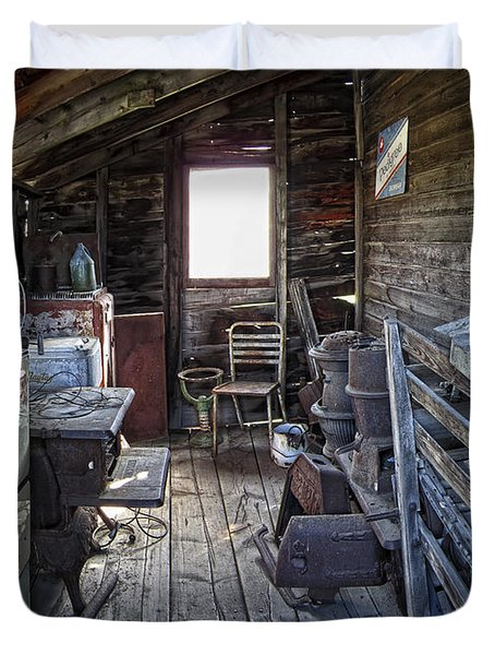 Molson Ghost Town Storage Shed Duvet Cover by Daniel Hagerman