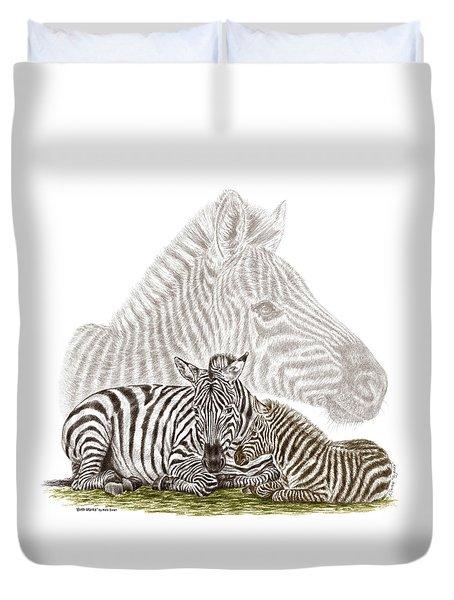 Mom And Baby Zebra Art Duvet Cover