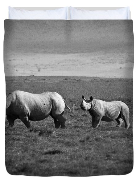 Mom And Child Black Rhinos Duvet Cover by Darcy Michaelchuk