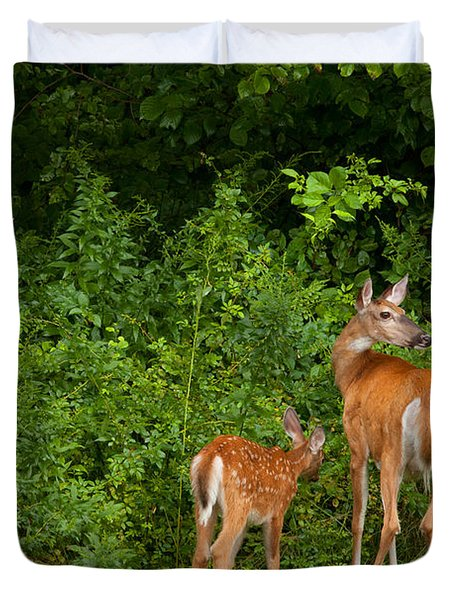 Mom And Two Duvet Cover by Karol Livote