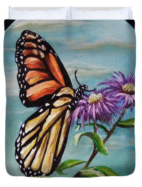 Duvet Cover featuring the painting Monarch And Aster by Karen  Ferrand Carroll