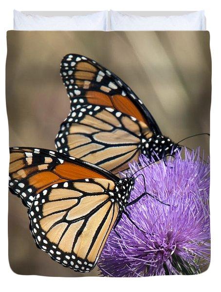 Duvet Cover featuring the photograph Monarch Butterflies On Field Thistle Din162 by Gerry Gantt