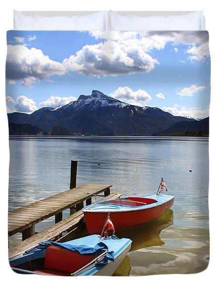 Mondsee Lake Boats Duvet Cover by Lauri Novak