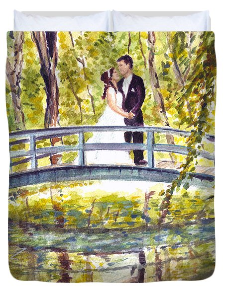 Duvet Cover featuring the painting Monet Wedding by Clara Sue Beym