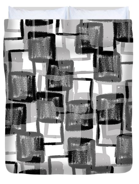 Monochrome Squares Duvet Cover by Louisa Knight