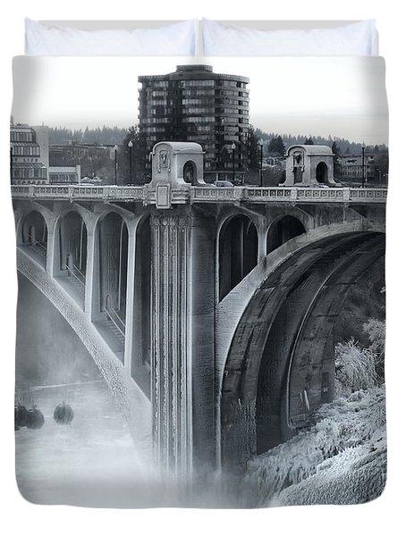 Monroe St Bridge 2 - Spokane Washington Duvet Cover by Daniel Hagerman