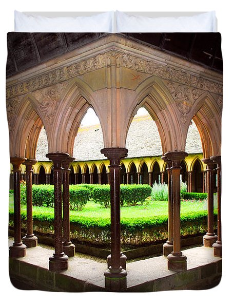 Mont Saint Michel Cloister Garden Duvet Cover by Elena Elisseeva