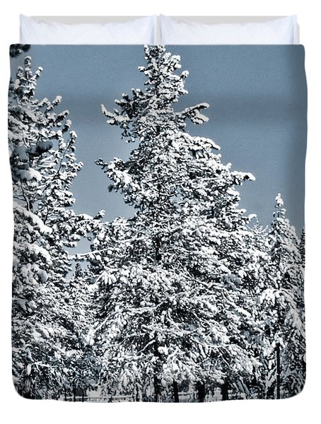 Duvet Cover featuring the photograph Montana Christmas by Janie Johnson