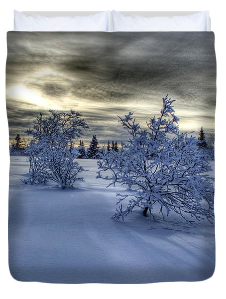 Duvet Cover featuring the photograph Moody Snow Scene by Michele Cornelius