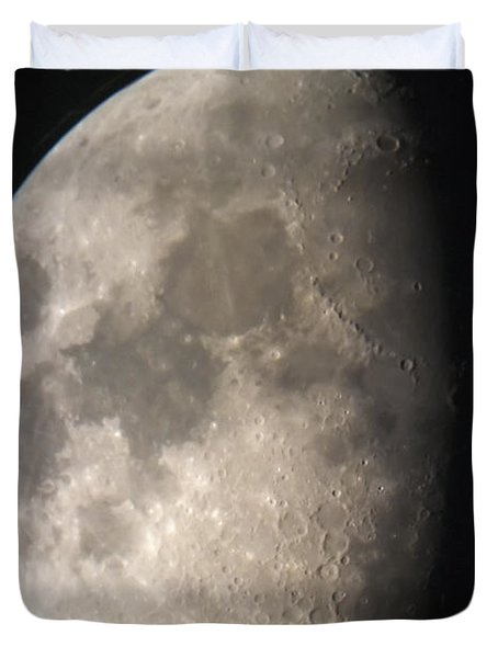 Duvet Cover featuring the photograph Moon Against The Black Sky by John Short