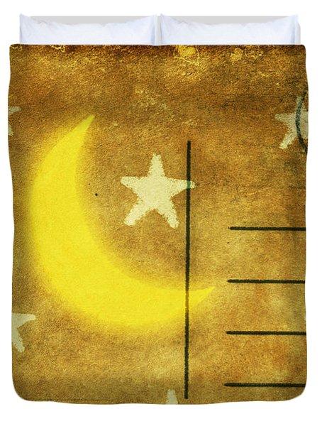 Moon And Star Postcard Duvet Cover by Setsiri Silapasuwanchai