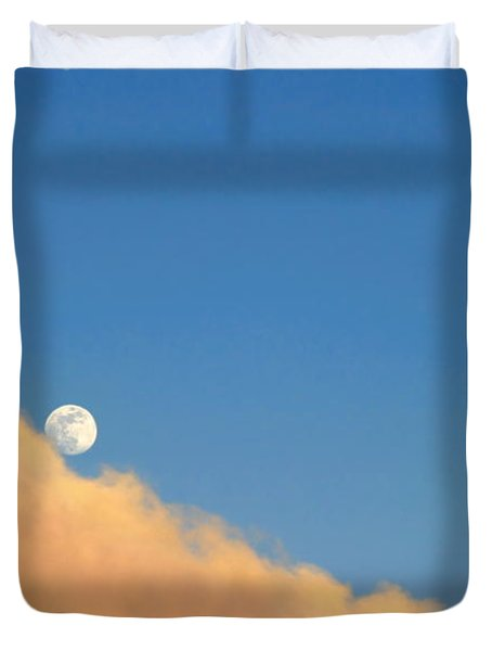 Moon At Sunset Duvet Cover