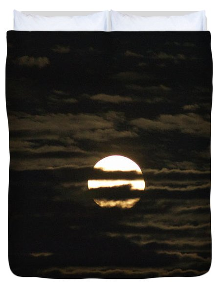 Duvet Cover featuring the photograph Moon Behind The Clouds by William Norton
