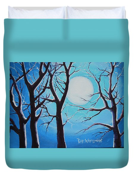 Duvet Cover featuring the painting Moon Light by Dan Whittemore
